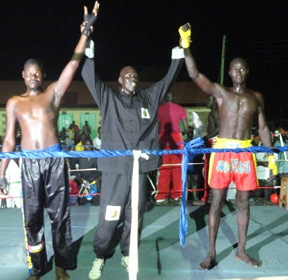 lead story photo 2 From left Obwana Rashid from Uganda Okello referee and Kuol James